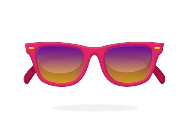 Óculos de sol modernos com armação de plástico rosa e lentes espelhadas. ilustração vetorial