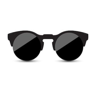 Óculos de sol pretos com vidro escuro no fundo branco.