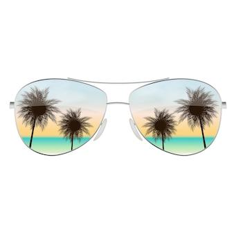 Óculos de sol realistas com palmeira