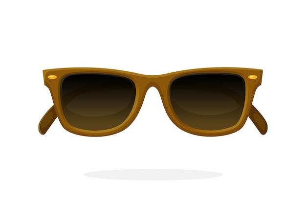 Óculos de sol retrô com armação de armação marrom e lentes marrons. ilustração vetorial