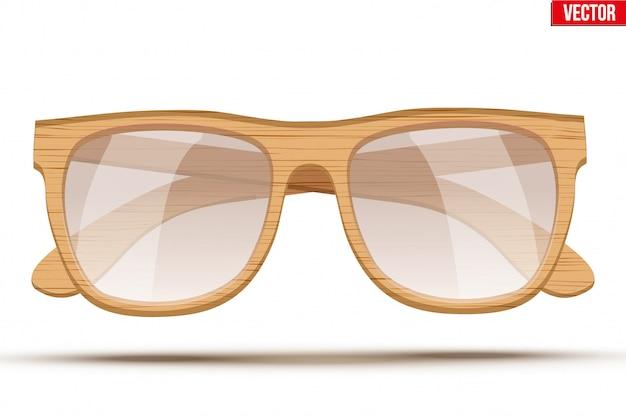 Óculos de sol vintage com moldura de madeira.
