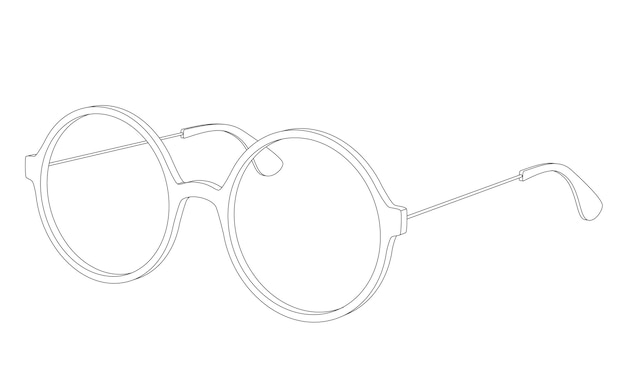 Óculos de vetor simples redondos isolados no branco