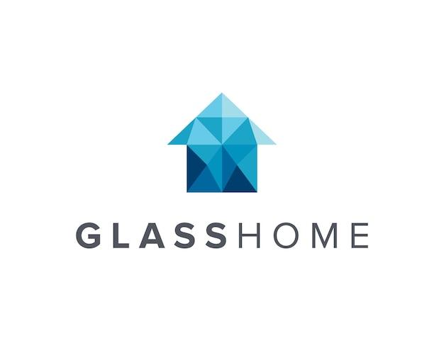 Óculos e casa simples, elegante, criativo, geométrico, moderno, design de logotipo