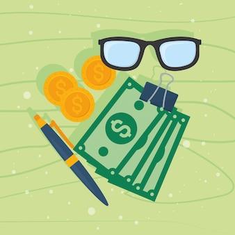 Óculos e ícones de dinheiro