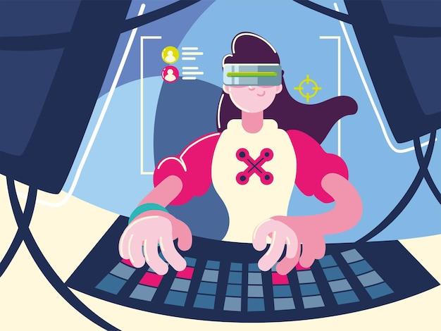 Óculos e teclado de videogame feminino