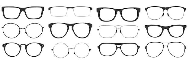 Óculos em estilo retro, isolados no fundo branco