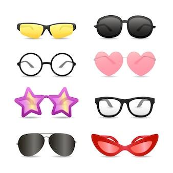 Óculos engraçados de formas diferentes
