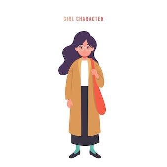 Óculos jovem mulher ou meninas em roupas da moda estilo personagem vector