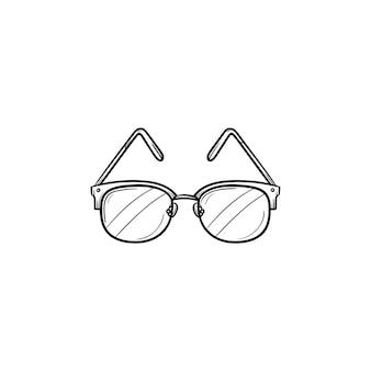 Óculos mão ícone de doodle de contorno desenhado. óculos dióptricos como ilustração de esboço de vetor de conceito de oftalmologia médica para impressão, web, mobile e infográficos isolados no fundo branco.