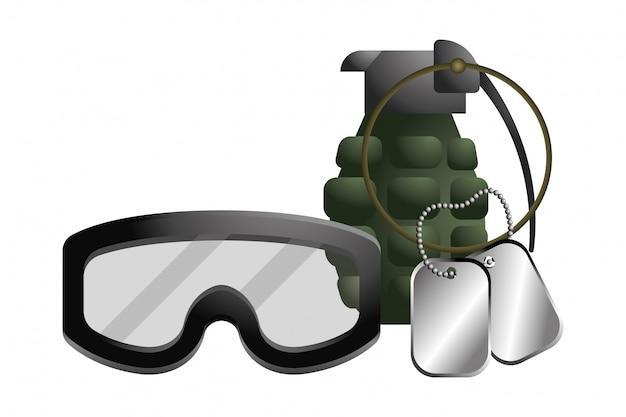 Óculos militares com granada e placa de tag de cão