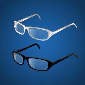 Óculos preto e branco - ilustração realística isolada do objeto moderno em vetor em fundo gradiente azul. use este clipart de alta qualidade para apresentações, banners e folhetos. óculos elegantes