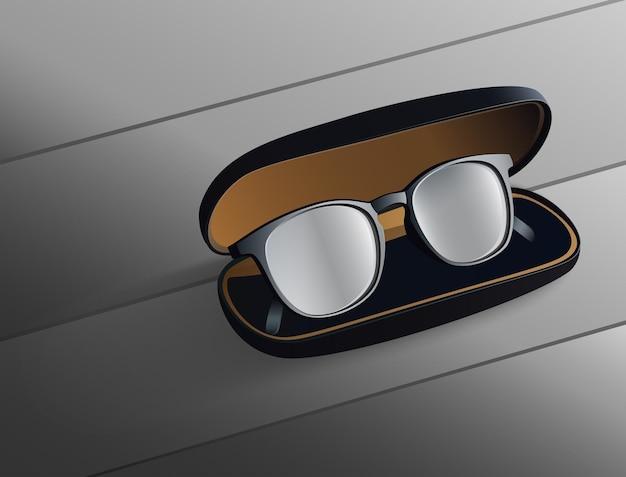 Óculos pretos no fundo preto
