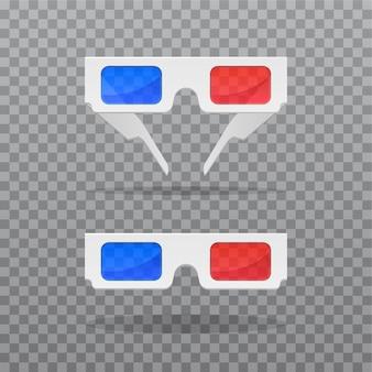 Óculos realistas em duas posições em fundo transparente
