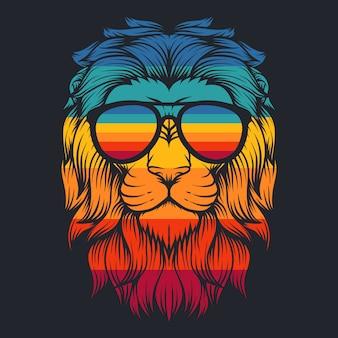 Óculos retrô legal de leão