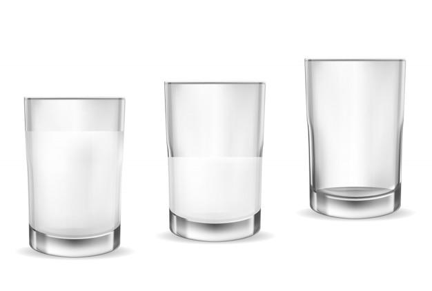 Óculos transparentes realistas para leite