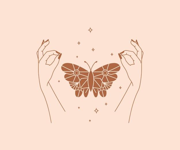 Ocultismo desenhado à mão logotipo de mãos mágicas com elementos de design místico esotérico de borboletas e estrelas