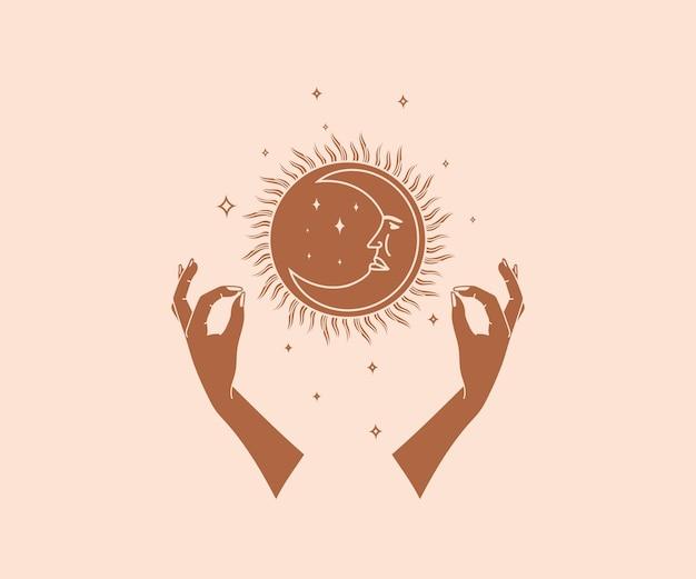 Ocultismo desenhado à mão logotipo de mãos mágicas com estrelas do sol, lua com elementos esotéricos do rosto humano