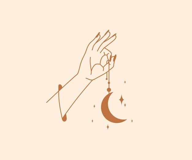 Ocultismo desenhado à mão logotipo de mãos mágicas com estrelas, lua de cristal, elementos de design místico esotérico
