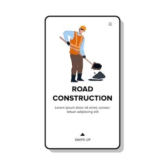 Ocupação de construção de estradas de vetor de reparador. trabalhador de construção de estradas, homem de uniforme, com furo de remendo de pá no asfalto. construtor de personagens serviço de conserto de rodovias ilustração plana dos desenhos animados da web