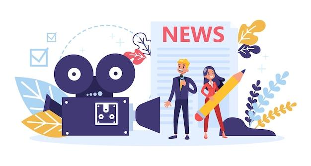 Ocupação de jornalista. repórter de tv com microfone. mídia de massa
