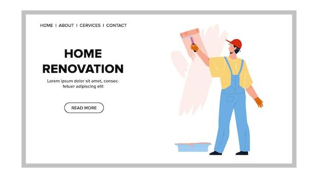 Ocupação de renovação em casa do pintor man vector. parede de pintura de homem com rolo, reforma de casa ou apartamento de reparo. reparador de personagens renovar ilustração de desenho animado da house web flat