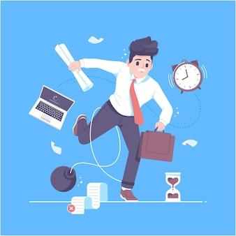 Ocupado empresário multitarefa ilustração vetorial de fundo