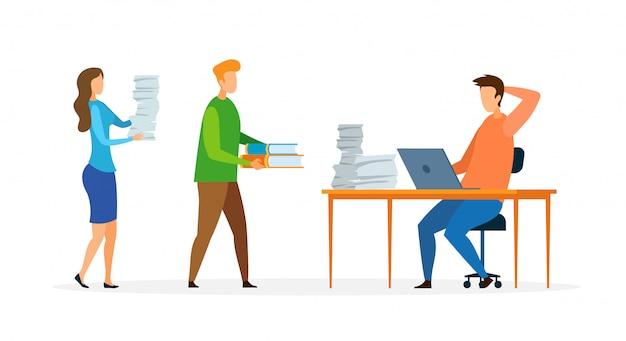 Ocupado trabalhador de escritório cartoon ilustração vetorial