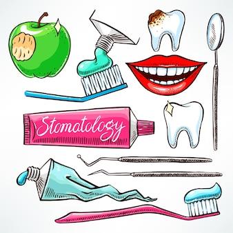 Odontologia. conjunto com utensílios odontológicos. ilustração desenhada à mão