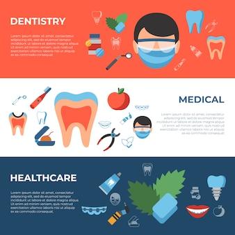 Odontologia e ícones de saúde
