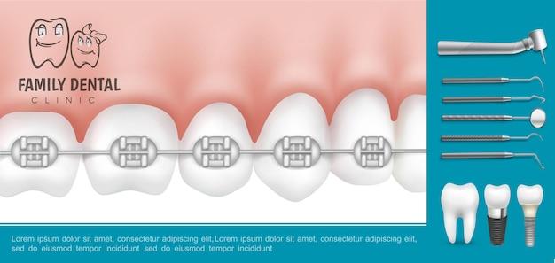 Odontologia realista e composição de estomatologia com aparelho de metal nos dentes, instrumentos médicos estomatológicos e implantes dentários