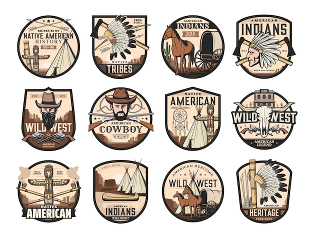 Oeste selvagem, ícones do oeste americano de saloon, cowboy e crânio de touro longhorn, vetor. símbolos nativos americanos do totem e machadinha chefe índio, canoa e apanhador de sonhos, treinador de palco e cavalo