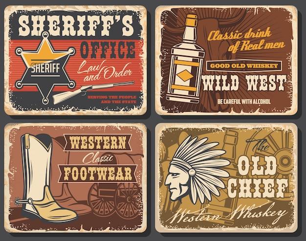 Oeste selvagem retro cartazes, conjunto de cartas ocidentais