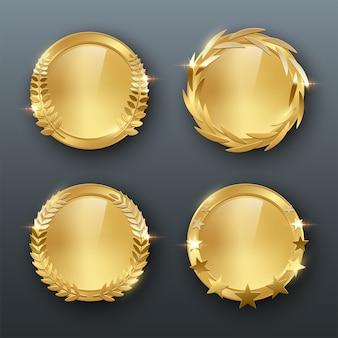 Ofereça medalhas em branco douradas com ilustração colorida em fundo cinza