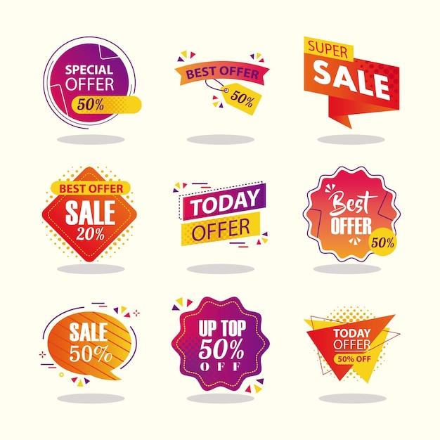 Ofereça rótulos de venda e banners de design de conjunto de ícones, compras e ilustração de tema de desconto