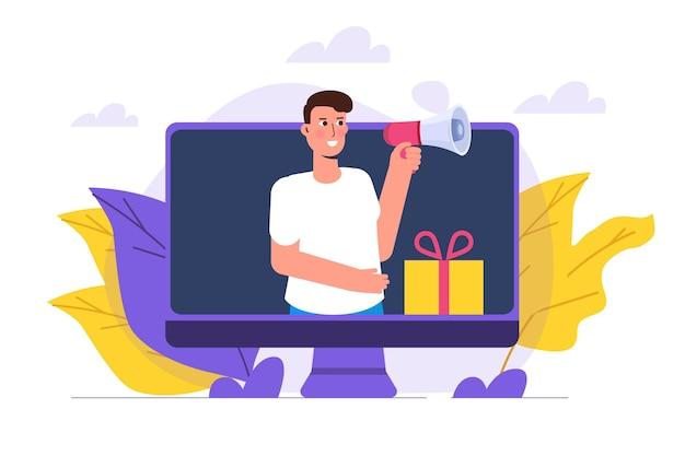 Oferece presentes de indicação, recompensa online, conceito de programa de indicação digital. ilustração do vetor de caixa de presente. pode ser usado para modelo, página de destino da web, banner.