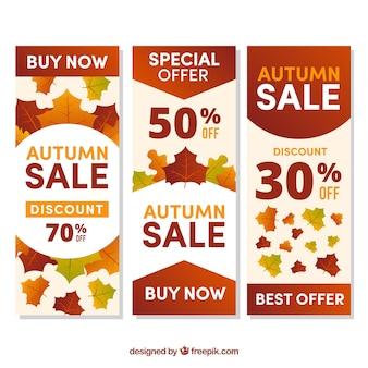 Oferecer banners para o outono, com lindas folhas