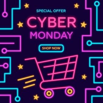 Oferta cibernética de segunda feira plana