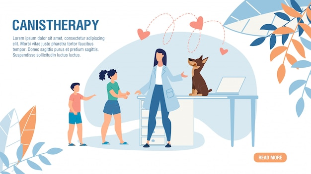 Oferta da página de destino para o serviço de canistherapy
