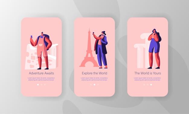 Oferta de agência de viagens de preço mais baixo, conjunto de tela a bordo de página de aplicativo móvel
