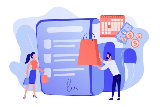 Oferta de compra a prazo, negócio de compras, serviço ao cliente conveniente