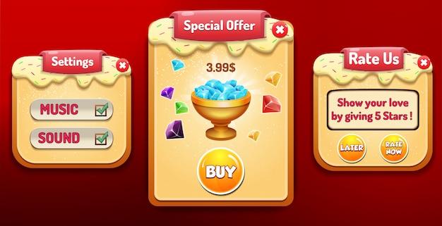 Oferta de compra, compra e venda, opções de configuração e menu classifique-nos pop-up com pontuação de estrelas e botões gui
