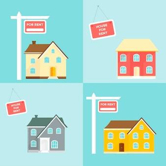 Oferta de compra de casa. locação de imóveis. Vetor Premium