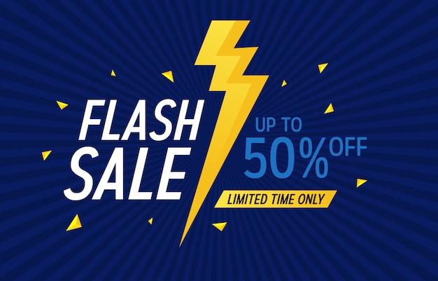 Oferta de desconto de venda de flash promoção web app banner ilustração vetorial