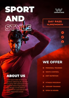 Oferta de design de panfleto de esporte