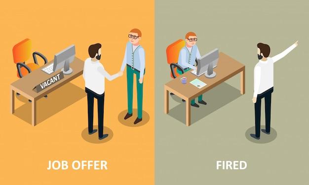 Oferta de emprego e elementos de design de conceito de vetor demitido