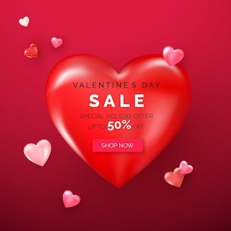 Oferta de feriado do dia dos namorados em grande coração vermelho