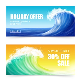 Oferta de férias e banners de ondas grandes