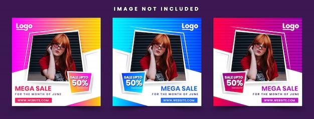 Oferta de moda 50% oferta promocional post design template