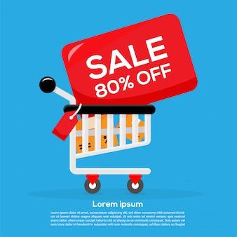 Oferta de promoção de venda banner design de modelo de carrinho