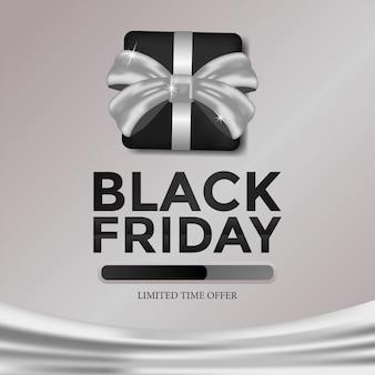 Oferta de tempo limitado modelo preto sexta-feira com caixa de presente